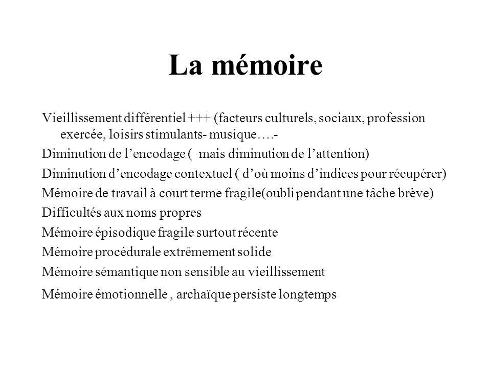 La mémoire Vieillissement différentiel +++ (facteurs culturels, sociaux, profession exercée, loisirs stimulants- musique….- Diminution de lencodage (