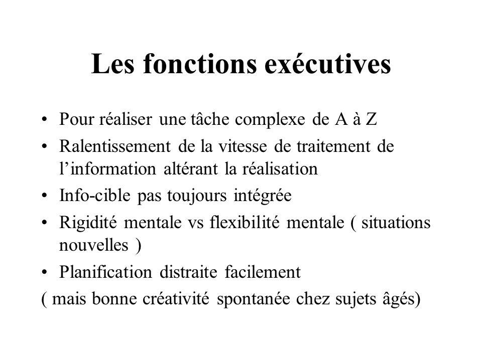Les fonctions exécutives Pour réaliser une tâche complexe de A à Z Ralentissement de la vitesse de traitement de linformation altérant la réalisation