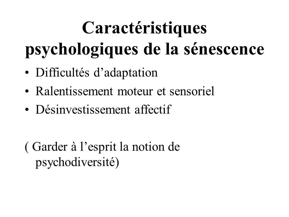 Caractéristiques psychologiques de la sénescence Difficultés dadaptation Ralentissement moteur et sensoriel Désinvestissement affectif ( Garder à lesp