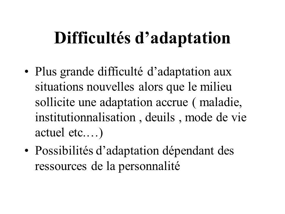 Difficultés dadaptation Plus grande difficulté dadaptation aux situations nouvelles alors que le milieu sollicite une adaptation accrue ( maladie, ins