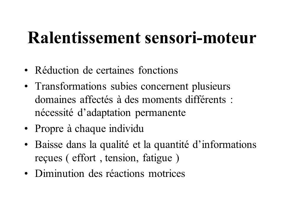 Ralentissement sensori-moteur Réduction de certaines fonctions Transformations subies concernent plusieurs domaines affectés à des moments différents