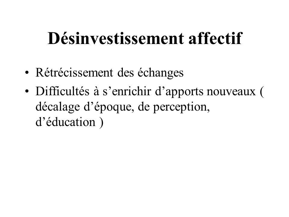Désinvestissement affectif Rétrécissement des échanges Difficultés à senrichir dapports nouveaux ( décalage dépoque, de perception, déducation )