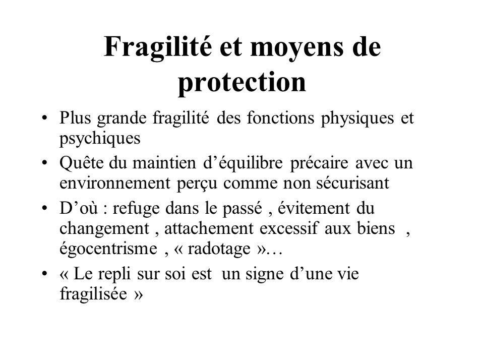 Fragilité et moyens de protection Plus grande fragilité des fonctions physiques et psychiques Quête du maintien déquilibre précaire avec un environnem