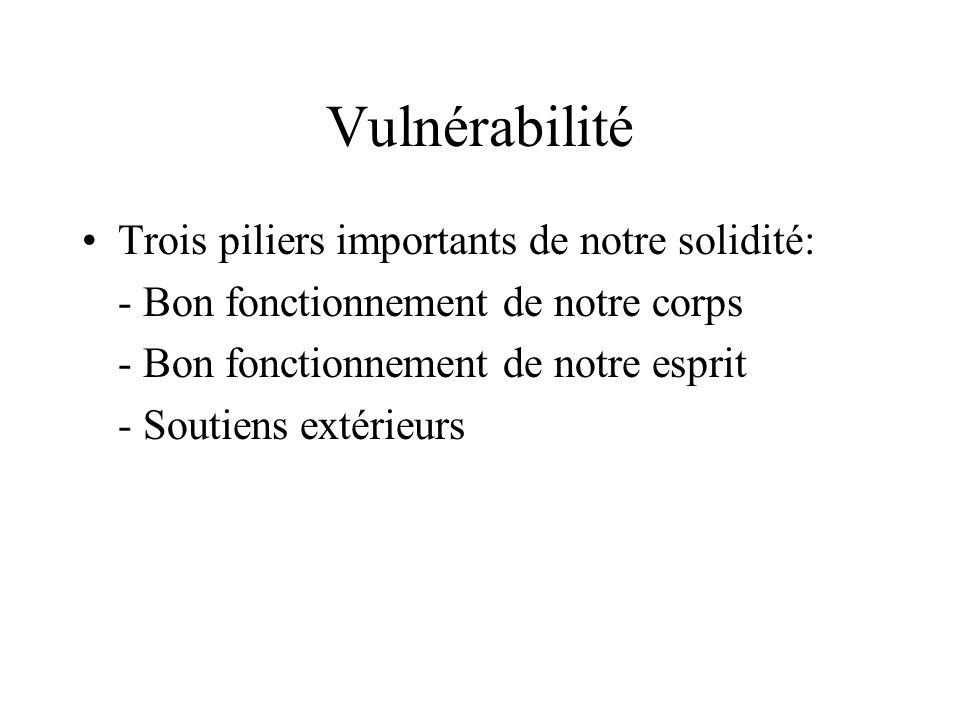 Vulnérabilité Trois piliers importants de notre solidité: - Bon fonctionnement de notre corps - Bon fonctionnement de notre esprit - Soutiens extérieu