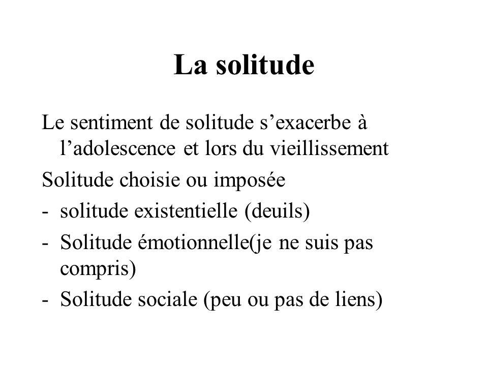 La solitude Le sentiment de solitude sexacerbe à ladolescence et lors du vieillissement Solitude choisie ou imposée -solitude existentielle (deuils) -