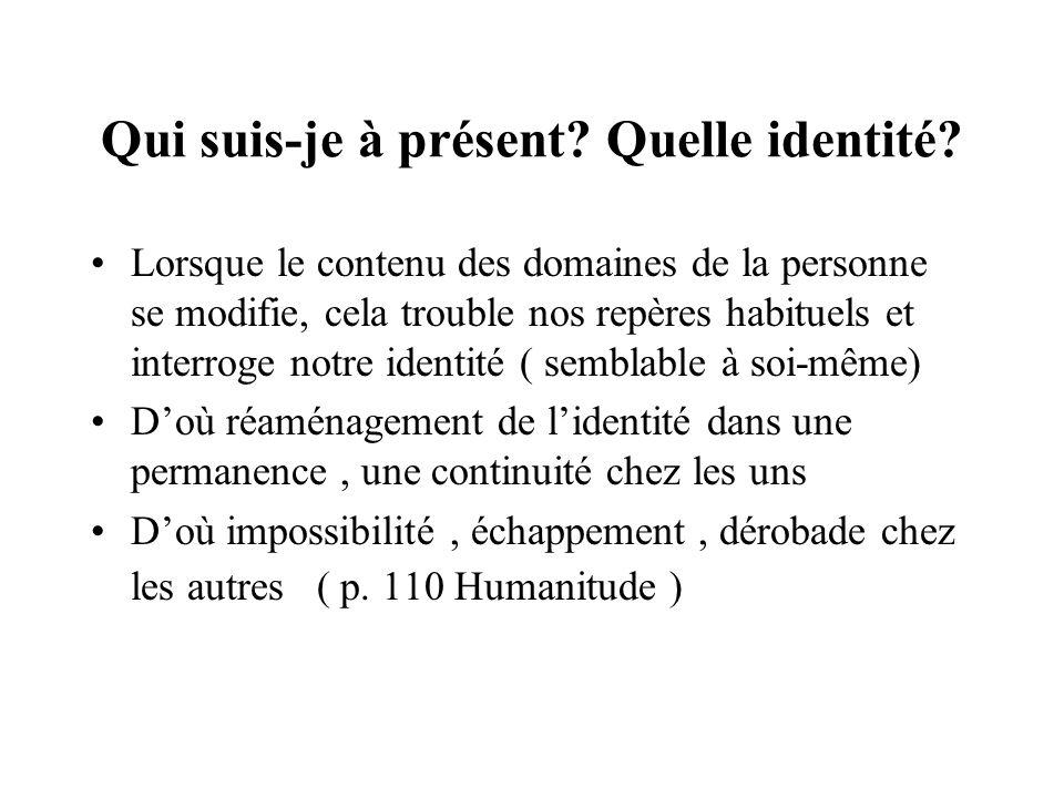 Qui suis-je à présent? Quelle identité? Lorsque le contenu des domaines de la personne se modifie, cela trouble nos repères habituels et interroge not