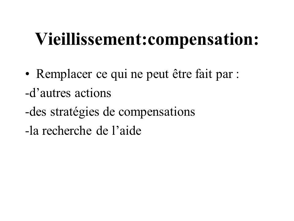 Vieillissement:compensation: Remplacer ce qui ne peut être fait par : -dautres actions -des stratégies de compensations -la recherche de laide