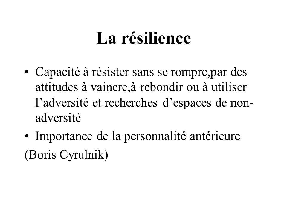 La résilience Capacité à résister sans se rompre,par des attitudes à vaincre,à rebondir ou à utiliser ladversité et recherches despaces de non- advers