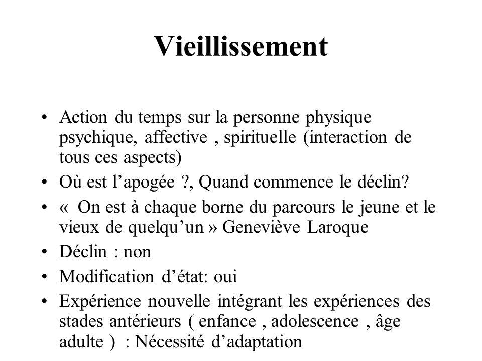 La réalité du vieillissement Le cheminement psychologique, affectif, spirituel, intellectuel, social.