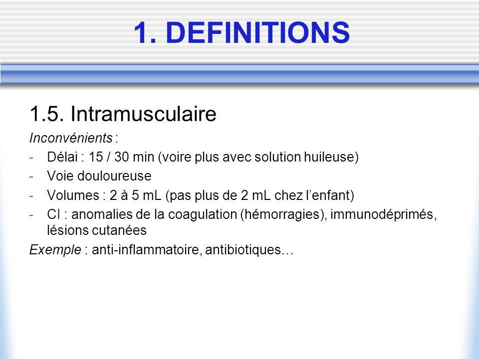 1.5. Intramusculaire Inconvénients : -Délai : 15 / 30 min (voire plus avec solution huileuse) -Voie douloureuse -Volumes : 2 à 5 mL (pas plus de 2 mL