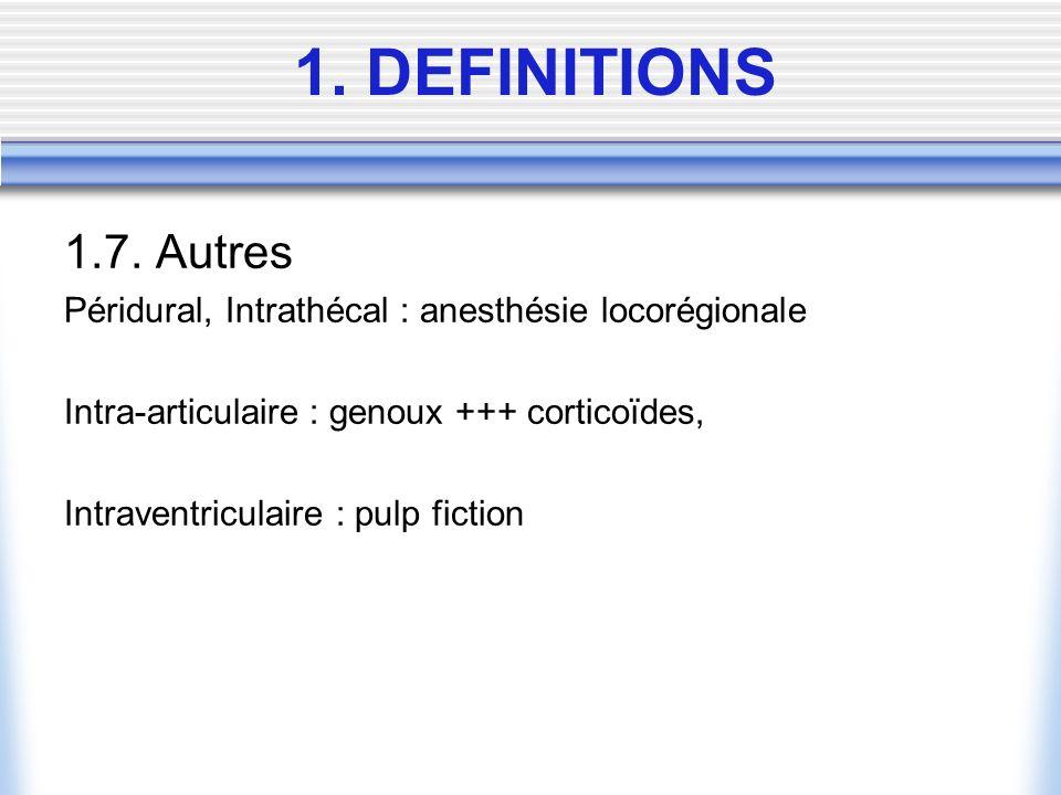 1.7. Autres Péridural, Intrathécal : anesthésie locorégionale Intra-articulaire : genoux +++ corticoïdes, Intraventriculaire : pulp fiction 1. DEFINIT