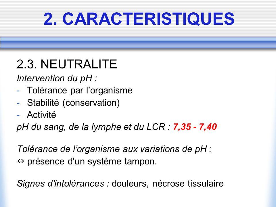 2.3. NEUTRALITE Intervention du pH : -Tolérance par lorganisme -Stabilité (conservation) -Activité pH du sang, de la lymphe et du LCR : 7,35 - 7,40 To