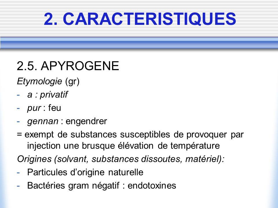 2.5. APYROGENE Etymologie (gr) -a : privatif -pur : feu -gennan : engendrer = exempt de substances susceptibles de provoquer par injection une brusque