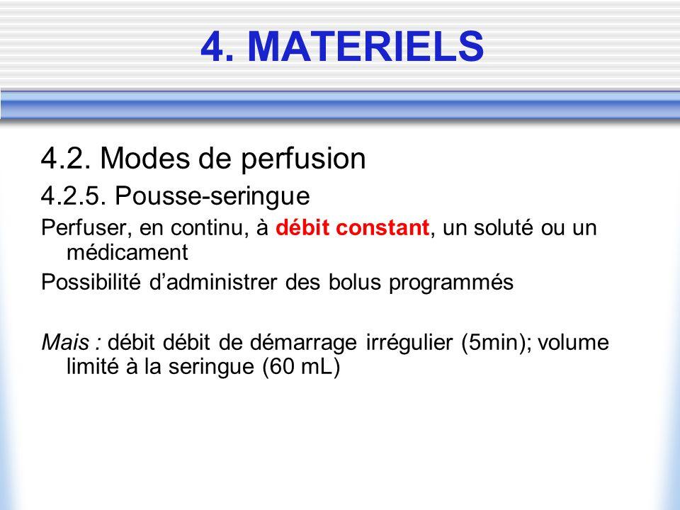 4.2. Modes de perfusion 4.2.5. Pousse-seringue Perfuser, en continu, à débit constant, un soluté ou un médicament Possibilité dadministrer des bolus p