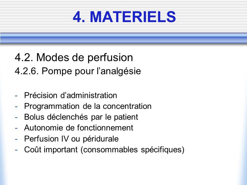 4.2. Modes de perfusion 4.2.6. Pompe pour lanalgésie -Précision dadministration -Programmation de la concentration -Bolus déclenchés par le patient -A