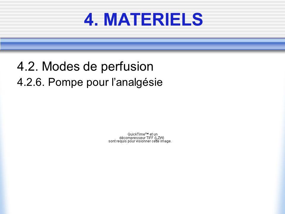 4.2. Modes de perfusion 4.2.6. Pompe pour lanalgésie 4. MATERIELS
