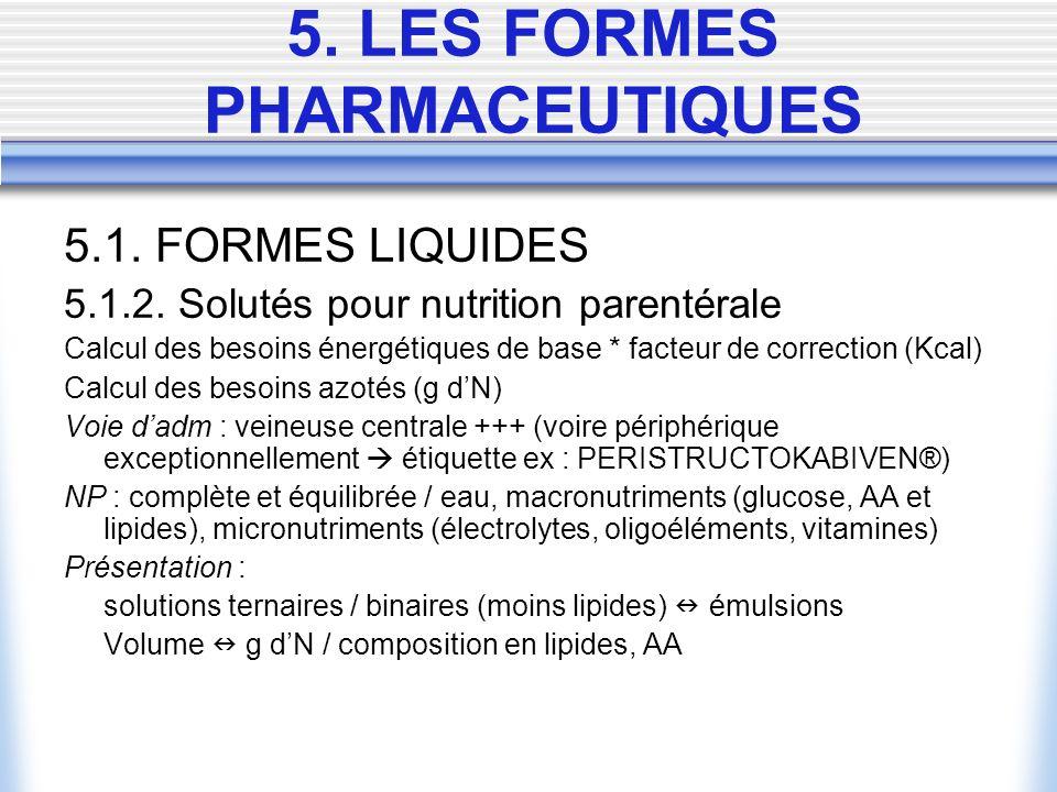 5.1. FORMES LIQUIDES 5.1.2. Solutés pour nutrition parentérale Calcul des besoins énergétiques de base * facteur de correction (Kcal) Calcul des besoi