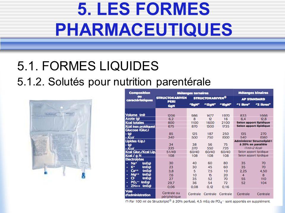 5.1. FORMES LIQUIDES 5.1.2. Solutés pour nutrition parentérale 5. LES FORMES PHARMACEUTIQUES