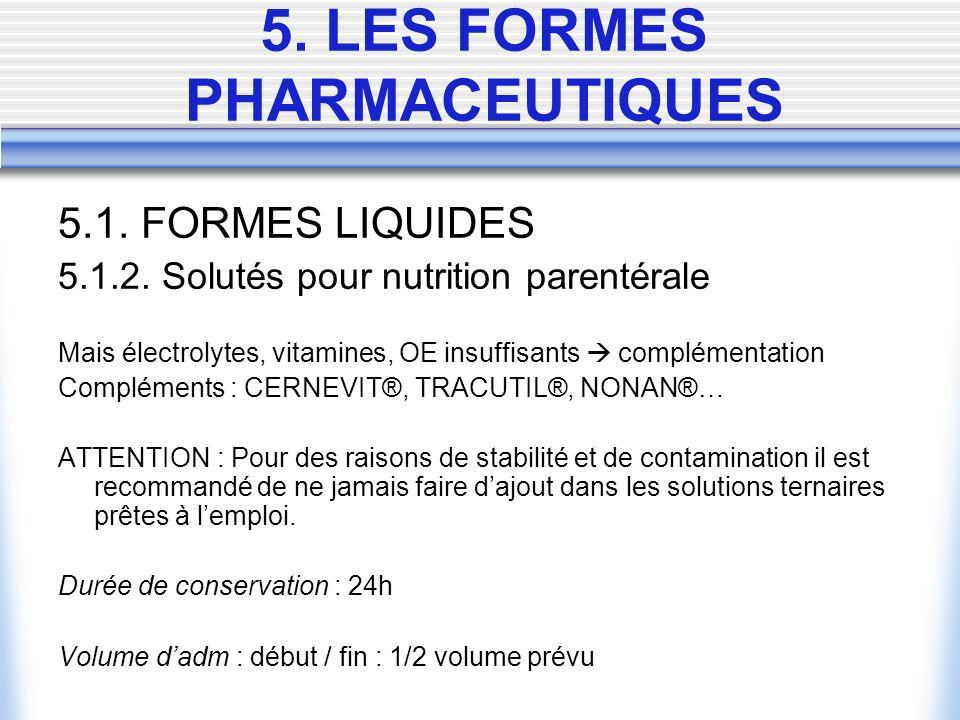 5.1. FORMES LIQUIDES 5.1.2. Solutés pour nutrition parentérale Mais électrolytes, vitamines, OE insuffisants complémentation Compléments : CERNEVIT®,