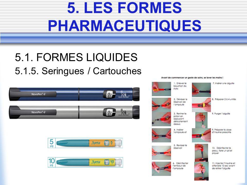 5.1. FORMES LIQUIDES 5.1.5. Seringues / Cartouches