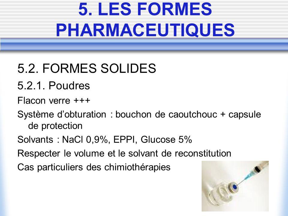 5.2. FORMES SOLIDES 5.2.1. Poudres Flacon verre +++ Système dobturation : bouchon de caoutchouc + capsule de protection Solvants : NaCl 0,9%, EPPI, Gl