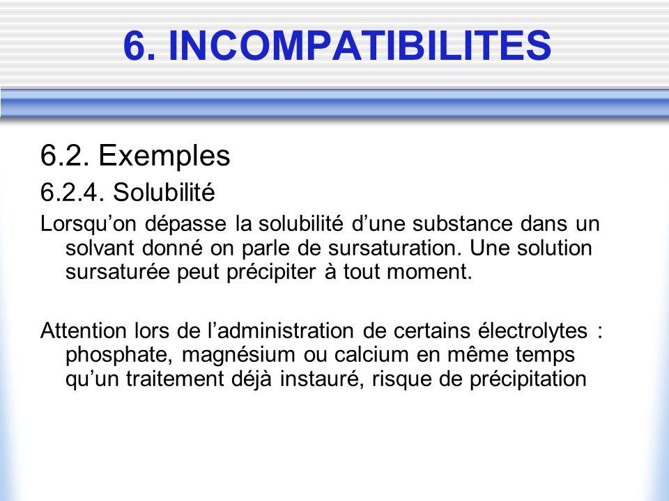 6.2. Exemples 6.2.4. Solubilité Lorsquon dépasse la solubilité dune substance dans un solvant donné on parle de sursaturation. Une solution sursaturée