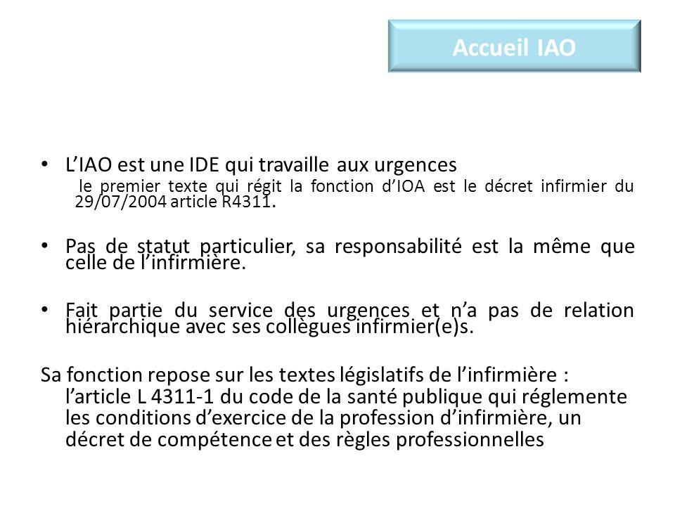 Accueil IAO LIAO est une IDE qui travaille aux urgences le premier texte qui régit la fonction dIOA est le décret infirmier du 29/07/2004 article R4311.