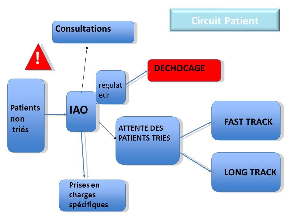 Circuit Patient DECHOCAGE FAST TRACK LONG TRACK Consultations IAO ATTENTE DES PATIENTS TRIES Prises en charges spécifiques Patients non triés ! régula