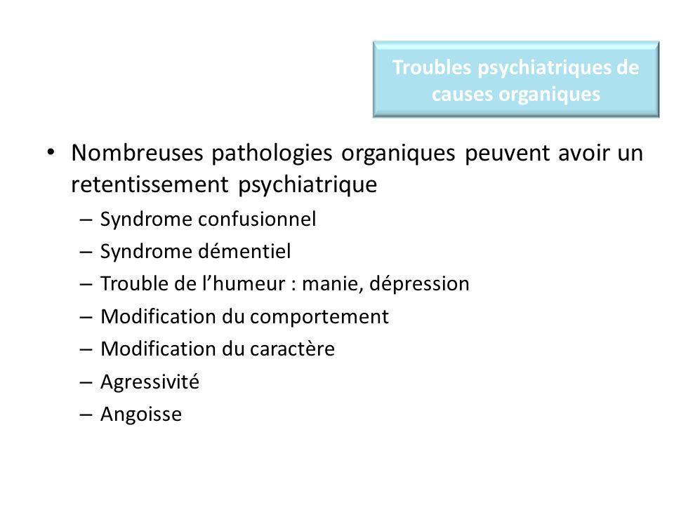 Troubles psychiatriques de causes organiques Nombreuses pathologies organiques peuvent avoir un retentissement psychiatrique – Syndrome confusionnel – Syndrome démentiel – Trouble de lhumeur : manie, dépression – Modification du comportement – Modification du caractère – Agressivité – Angoisse