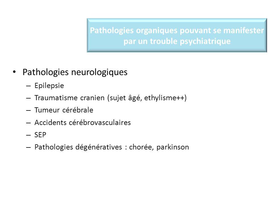 Pathologies organiques pouvant se manifester par un trouble psychiatrique Pathologies neurologiques – Epilepsie – Traumatisme cranien (sujet âgé, ethylisme++) – Tumeur cérébrale – Accidents cérébrovasculaires – SEP – Pathologies dégénératives : chorée, parkinson