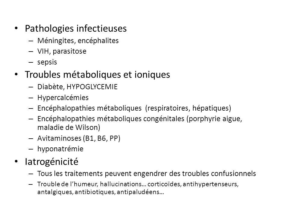 Pathologies infectieuses – Méningites, encéphalites – VIH, parasitose – sepsis Troubles métaboliques et ioniques – Diabète, HYPOGLYCEMIE – Hypercalcémies – Encéphalopathies métaboliques (respiratoires, hépatiques) – Encéphalopathies métaboliques congénitales (porphyrie aigue, maladie de Wilson) – Avitaminoses (B1, B6, PP) – hyponatrémie Iatrogénicité – Tous les traitements peuvent engendrer des troubles confusionnels – Trouble de lhumeur, hallucinations… corticoïdes, antihypertenseurs, antalgiques, antibiotiques, antipaludéens…