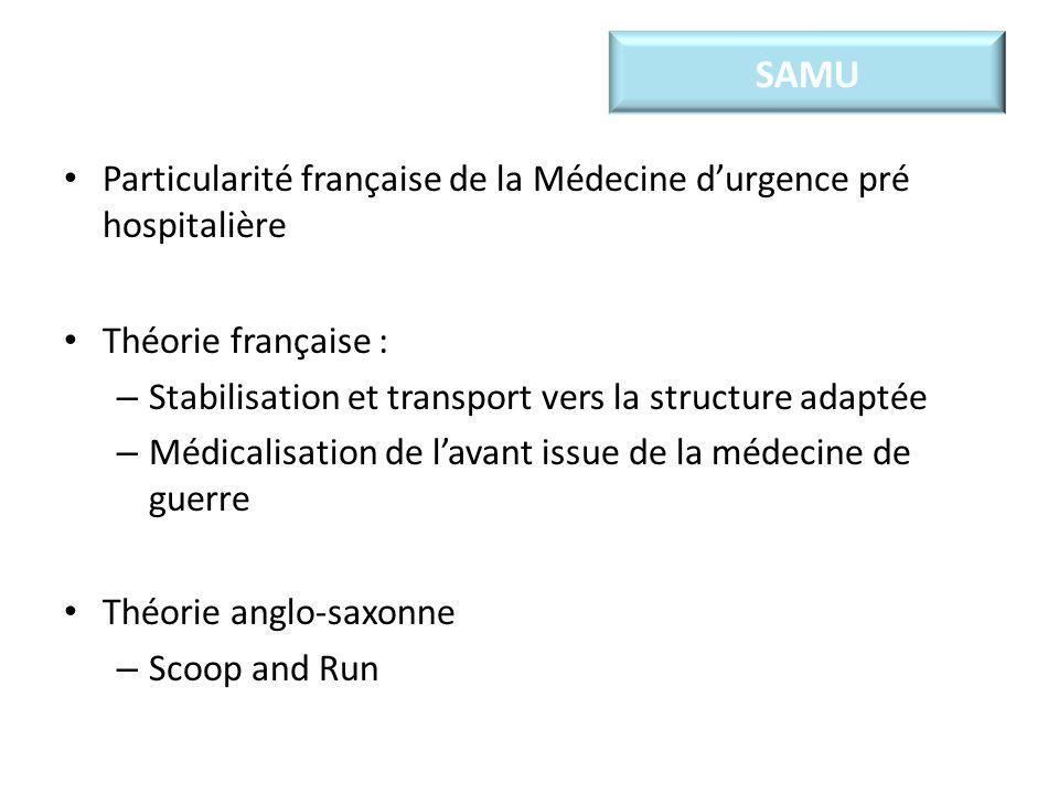 Particularité française de la Médecine durgence pré hospitalière Théorie française : – Stabilisation et transport vers la structure adaptée – Médicali
