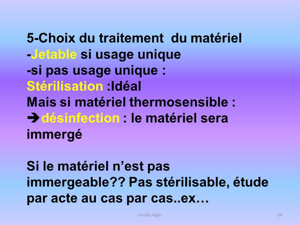 claude léger24 5-Choix du traitement du matériel -Jetable si usage unique -si pas usage unique : Stérilisation :Idéal Mais si matériel thermosensible