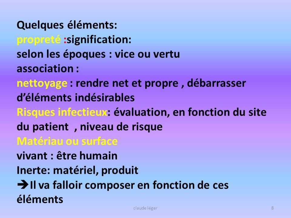 claude léger8 Quelques éléments: propreté :signification: selon les époques : vice ou vertu association : nettoyage : rendre net et propre, débarrasse