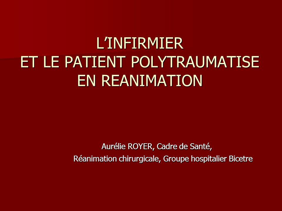 LINFIRMIER ET LE PATIENT POLYTRAUMATISE EN REANIMATION Aurélie ROYER, Cadre de Santé, Réanimation chirurgicale, Groupe hospitalier Bicetre