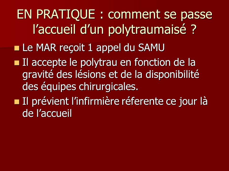 EN PRATIQUE : comment se passe laccueil dun polytraumaisé ? Le MAR reçoit 1 appel du SAMU Le MAR reçoit 1 appel du SAMU Il accepte le polytrau en fonc