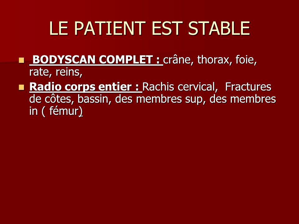 LE PATIENT EST STABLE BODYSCAN COMPLET : crâne, thorax, foie, rate, reins, BODYSCAN COMPLET : crâne, thorax, foie, rate, reins, Radio corps entier : R