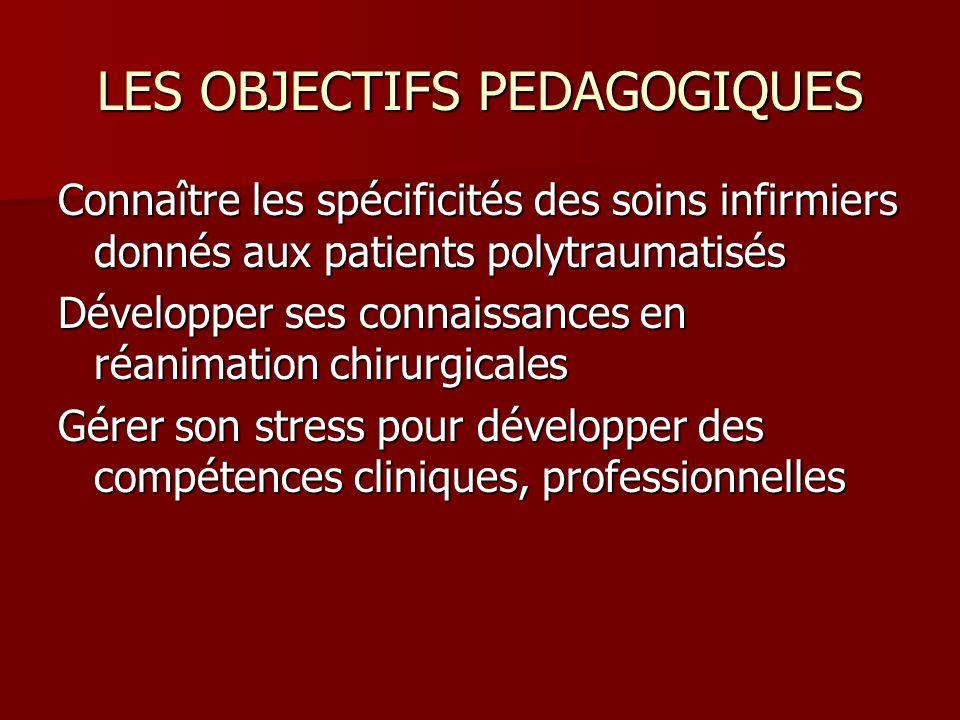 LES OBJECTIFS PEDAGOGIQUES Connaître les spécificités des soins infirmiers donnés aux patients polytraumatisés Développer ses connaissances en réanima