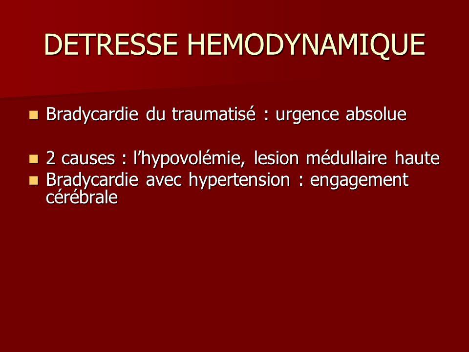 DETRESSE HEMODYNAMIQUE Bradycardie du traumatisé : urgence absolue Bradycardie du traumatisé : urgence absolue 2 causes : lhypovolémie, lesion médulla