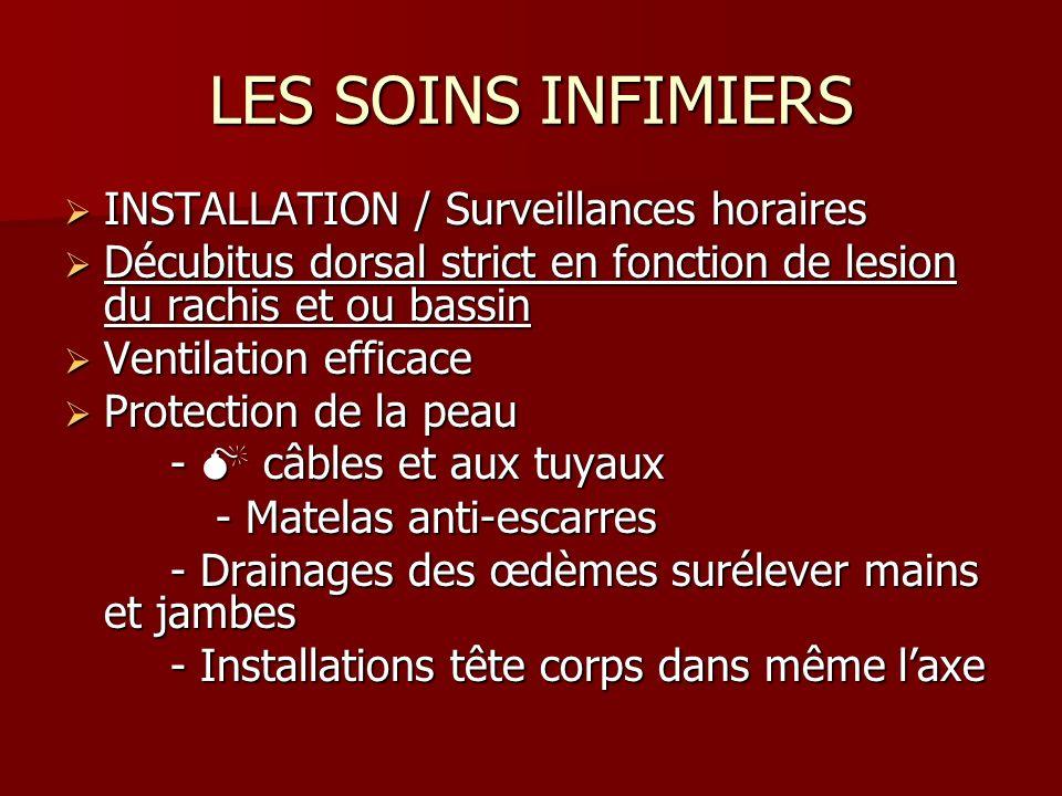 LES SOINS INFIMIERS INSTALLATION / Surveillances horaires INSTALLATION / Surveillances horaires Décubitus dorsal strict en fonction de lesion du rachi
