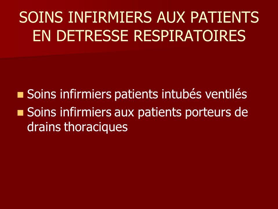 SOINS INFIRMIERS AUX PATIENTS EN DETRESSE RESPIRATOIRES Soins infirmiers patients intubés ventilés Soins infirmiers aux patients porteurs de drains th