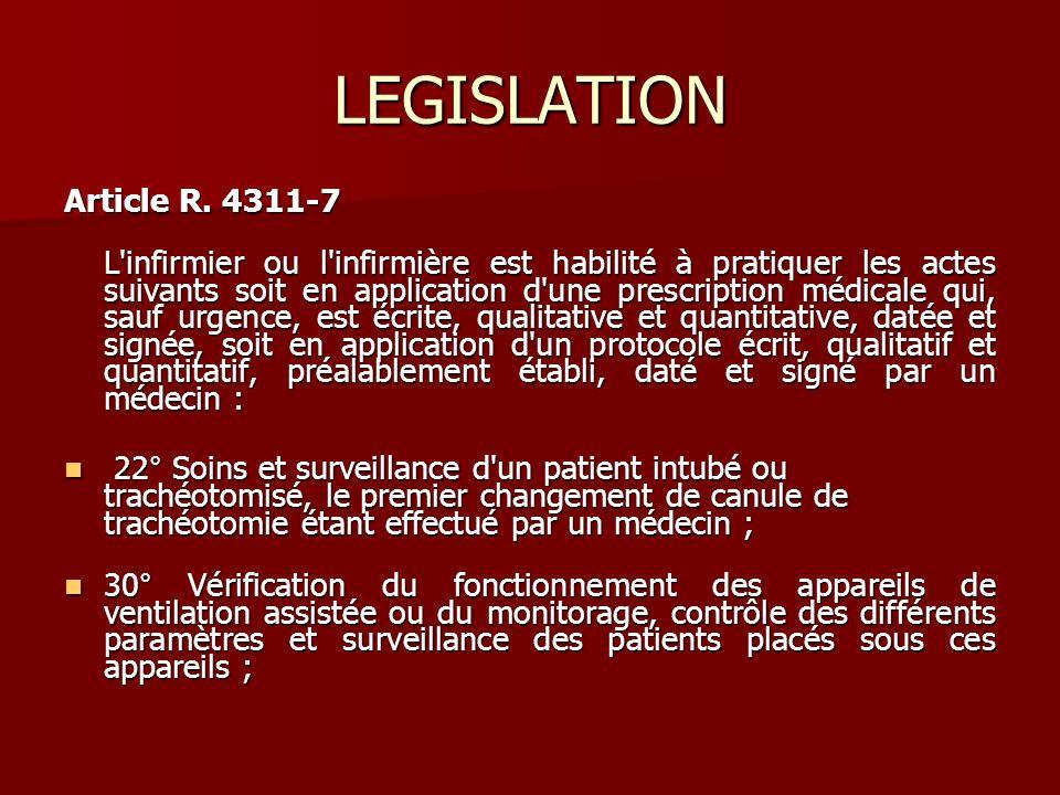 LEGISLATION Article R. 4311-7 L'infirmier ou l'infirmière est habilité à pratiquer les actes suivants soit en application d'une prescription médicale