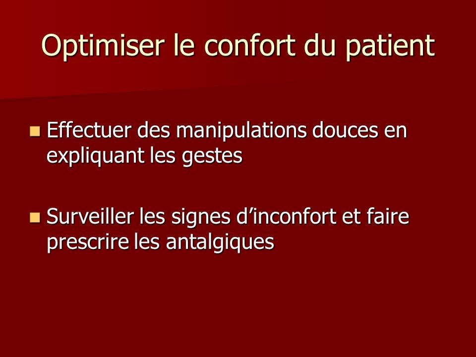 Optimiser le confort du patient Effectuer des manipulations douces en expliquant les gestes Effectuer des manipulations douces en expliquant les geste