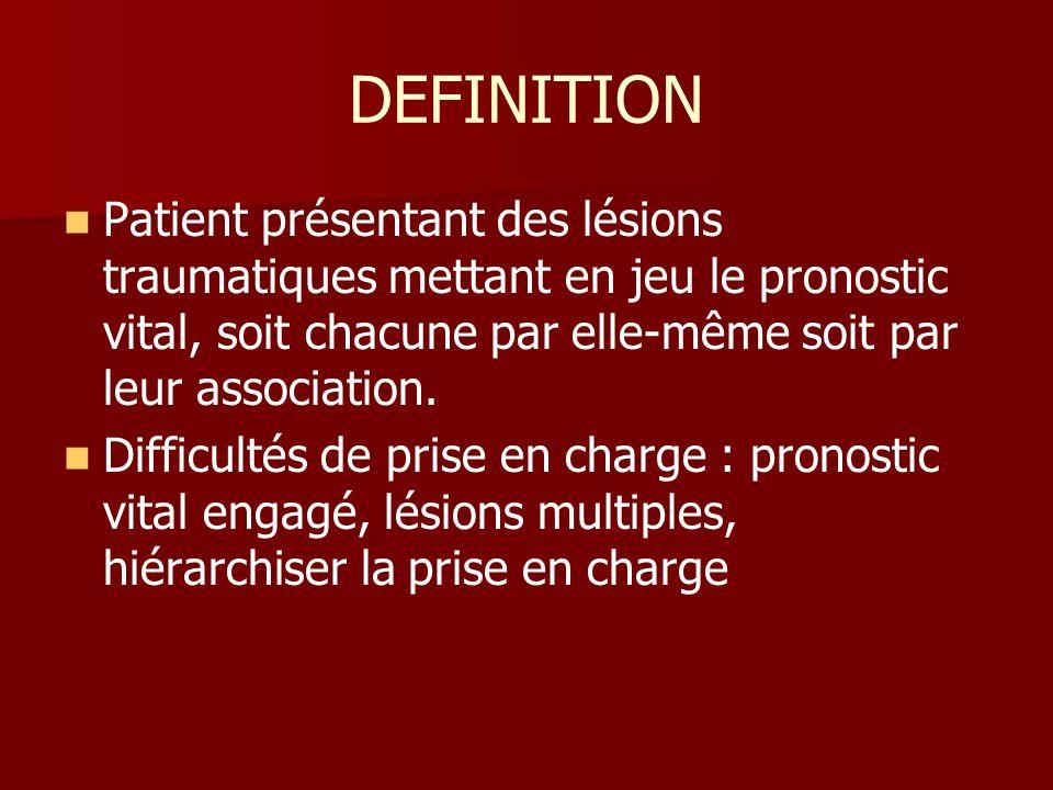 DEFINITION Patient présentant des lésions traumatiques mettant en jeu le pronostic vital, soit chacune par elle-même soit par leur association. Diffic