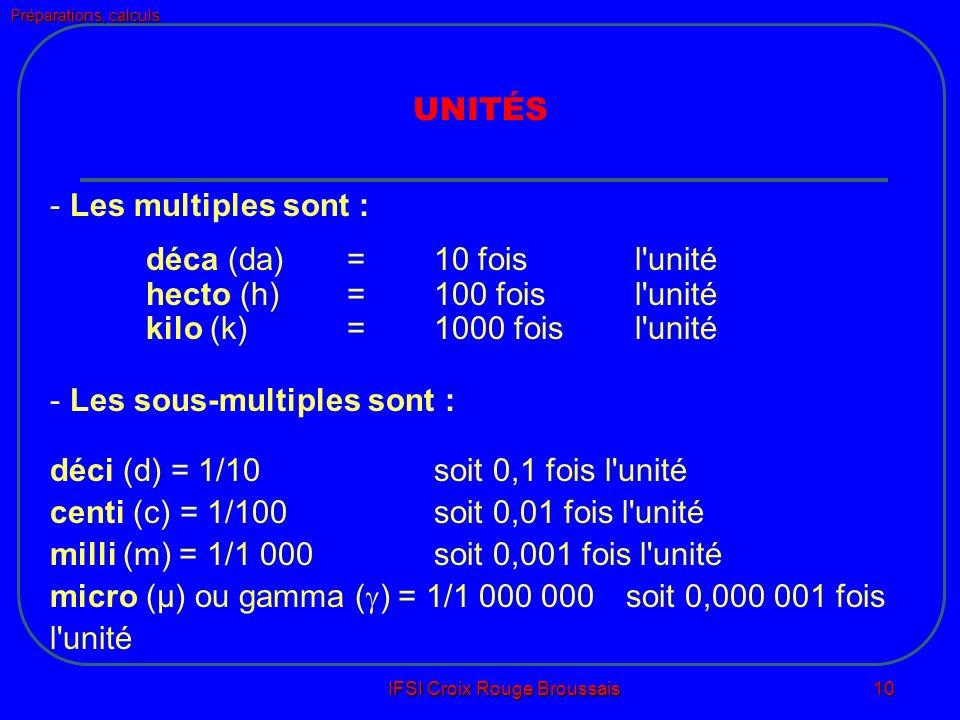 Préparations, calculs IFSI Croix Rouge Broussais 10 UNITÉS - Les multiples sont : déca (da) = 10 fois l unité hecto (h) =100 fois l unité kilo (k) = 1000 fois l unité - Les sous-multiples sont : déci (d) = 1/10 soit 0,1 fois l unité centi (c) = 1/100 soit 0,01 fois l unité milli (m) = 1/1 000 soit 0,001 fois l unité micro (µ) ou gamma ( ) = 1/1 000 000 soit 0,000 001 fois l unité