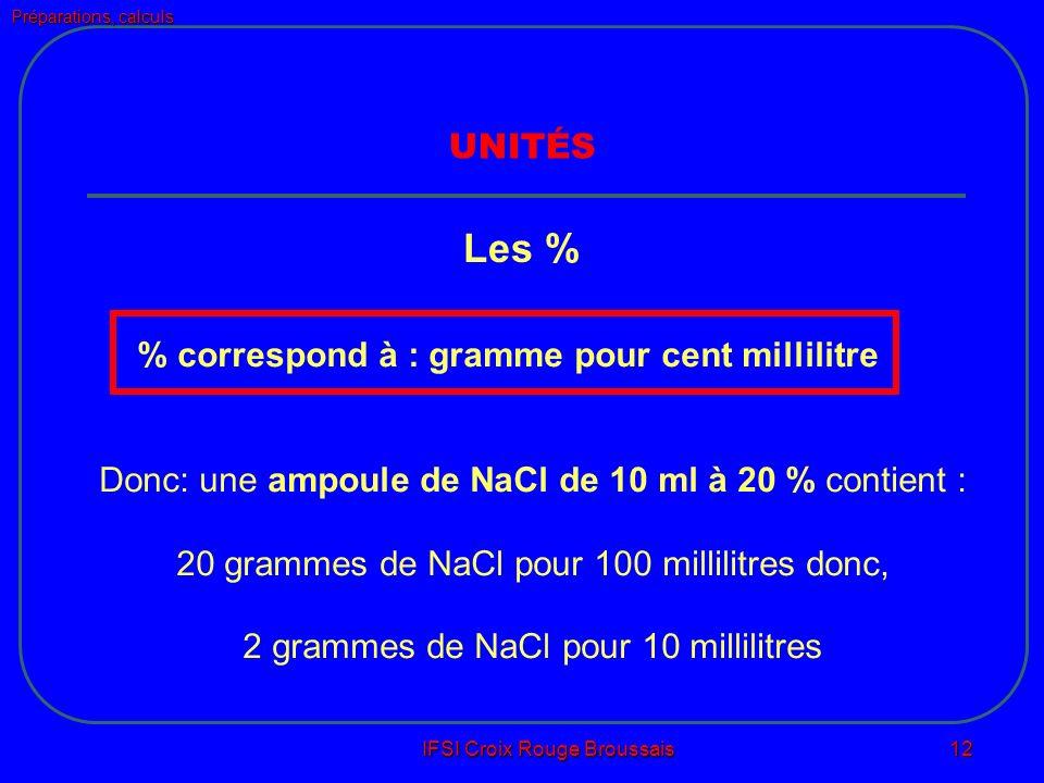 Préparations, calculs IFSI Croix Rouge Broussais 12 UNITÉS Les % % correspond à : gramme pour cent millilitre Donc: une ampoule de NaCl de 10 ml à 20 % contient : 20 grammes de NaCl pour 100 millilitres donc, 2 grammes de NaCl pour 10 millilitres
