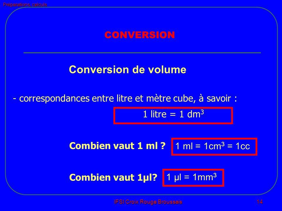 Préparations, calculs IFSI Croix Rouge Broussais 14 Conversion de volume - correspondances entre litre et mètre cube, à savoir : 1 litre = 1 dm 3 Combien vaut 1 ml .