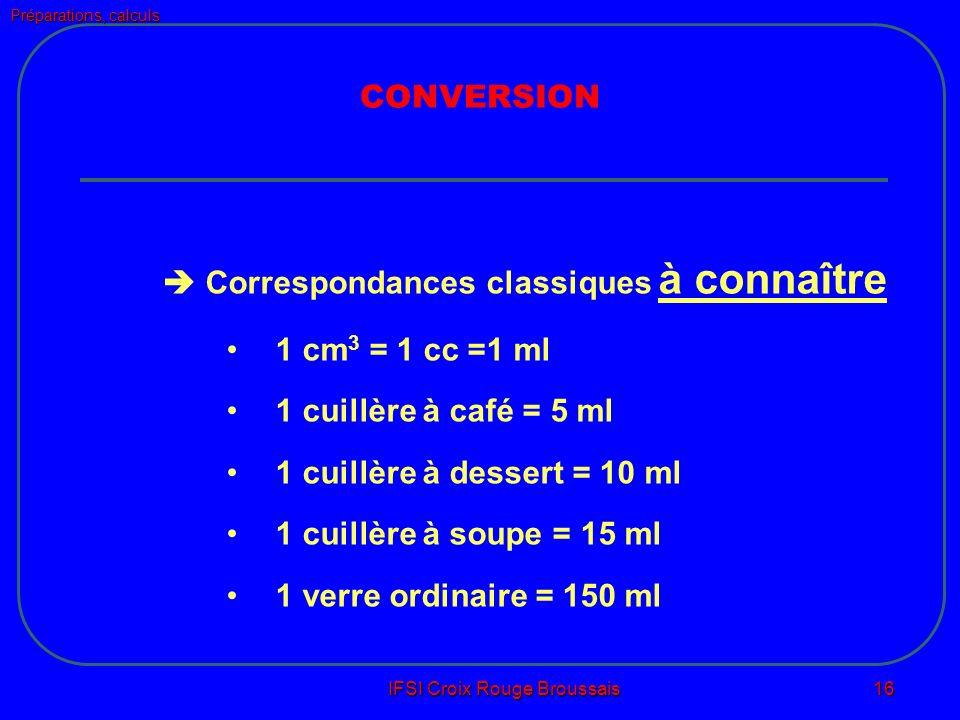 Préparations, calculs IFSI Croix Rouge Broussais 16 CONVERSION Correspondances classiques à connaître 1 cm 3 = 1 cc =1 ml 1 cuillère à café = 5 ml 1 cuillère à dessert = 10 ml 1 cuillère à soupe = 15 ml 1 verre ordinaire = 150 ml