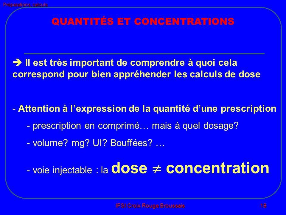 Préparations, calculs IFSI Croix Rouge Broussais 18 QUANTITÉS ET CONCENTRATIONS Il est très important de comprendre à quoi cela correspond pour bien appréhender les calculs de dose - Attention à lexpression de la quantité dune prescription - prescription en comprimé… mais à quel dosage.