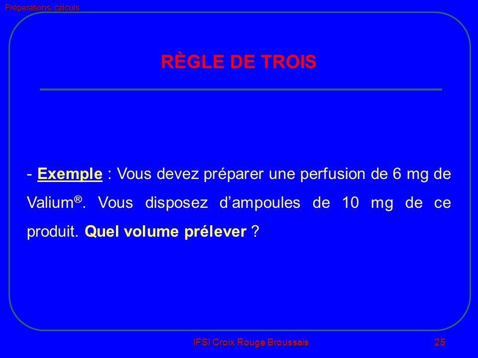 Préparations, calculs IFSI Croix Rouge Broussais 25 RÈGLE DE TROIS - Exemple : Vous devez préparer une perfusion de 6 mg de Valium ®.